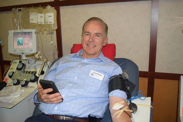 Reid Health President and CEO Craig Kinyon has been a frequent whole blood donor at the Reid Health blood drives. He made his first plasma donation when Reid began apheresis in May and was back donating plasma again at Tuesday's blood drive before July 4th. He said giving blood can be called patriotic.