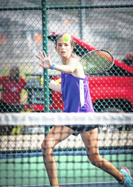 Eaton's Grace Murphy returns a shot during a match at the Preble Shawnee Invitational on Saturday, Aug. 18. Murphy, a freshman, will play No. 2 singles for the Eagles.