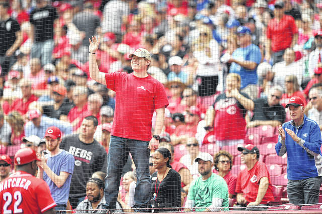 "Eaton native Evan Terry was honored as a ""hometown hero"" during the Reds game versus the Los Angeles Dodgers on Sept. 12."