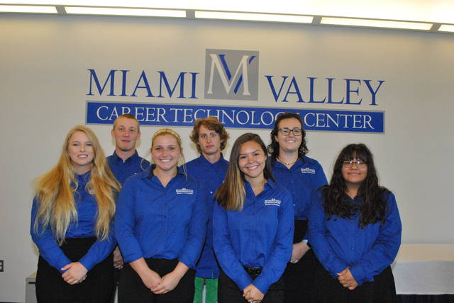 Miami Valley Career Technology Center (MVCTC) Student Ambassadors for the 2018-2019 school year from Preble County are (back row left to right) Brennan Halderman, Retail Agriculture Services student from Eaton; Miles Warren, Graphic Commercial Photography student from National Trail; Carley Asher, Veterinary Science student from Preble Shawnee; (front row left to right) Adriana Hodapp, Criminal Justice student from Eaton; Riley Cruse, Early Childhood Education student from Tri-County North; Brooklyn Harrod, Sports Medicine student from Twin Valley South and Makayla Allen, Graphic Commercial Art student from Twin Valley South.