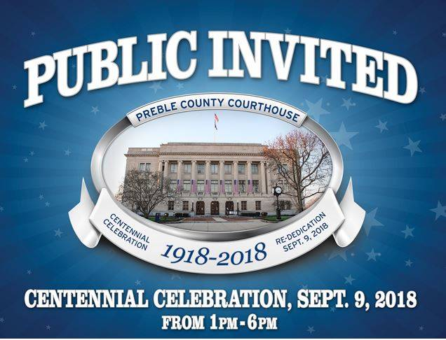 The public is invited to celebrate the Preble County Courthouse's 100 years of history at a special event this coming Sunday, Sept. 9.
