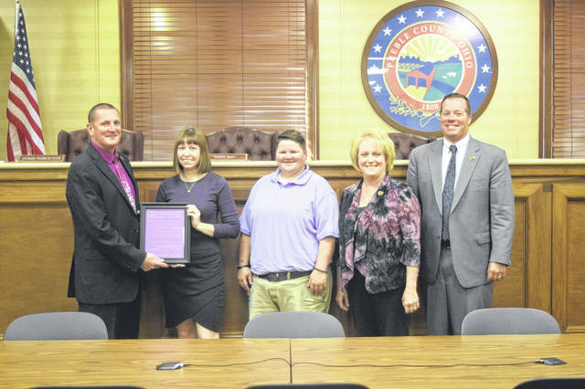 The Preble County Board of Commissioners proclaimed Monday, Oct. 1 as Paint Preble Purple day for raising awareness in Preble County. Throughout the county, different organizations and businesses urged their employees to wear purple in support of domestic violence awareness.