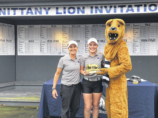 Sarah Willis (middle), a 2018 Eaton High School graduate, set a Penn State Nittany Lion Invitational Championship record with score of 205 (11-under) to earn medalist honors.