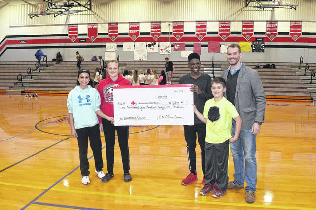 Tri-County North Middle School presented the American Red Cross with a check in the amount of $1,433 during a pep rally on Friday, Oct. 19.