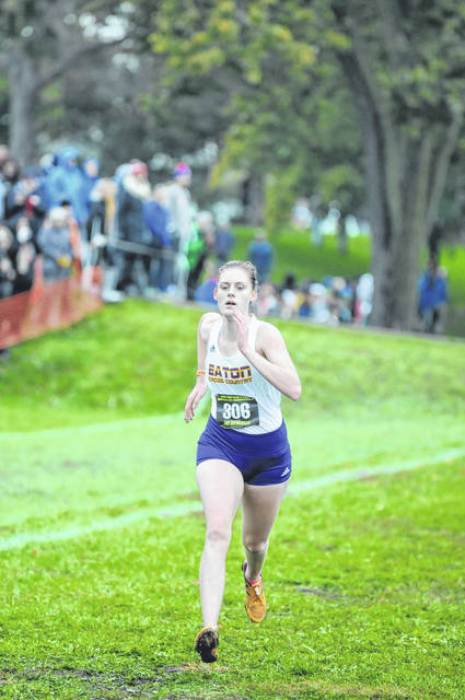 Eaton senior Claire Meyer helped the Eagles to an 11th place finish in the Division II regional at Troy on Saturday, Oct. 27.