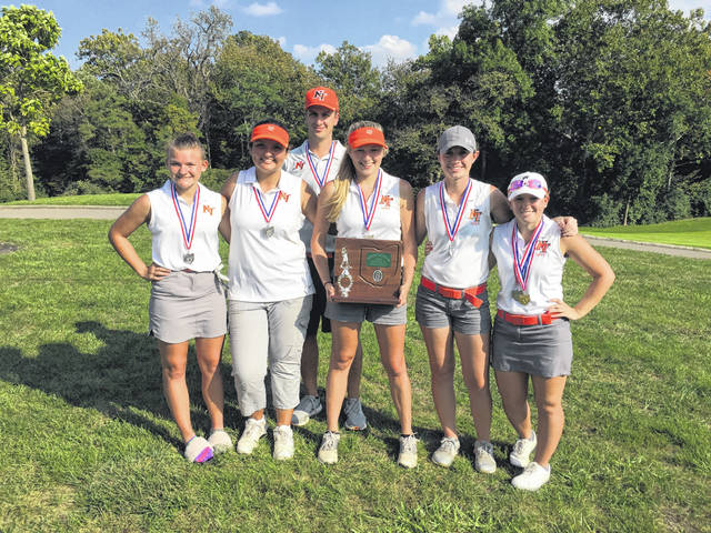 National Trail's girls golf team advanced to the state tournament for the first time since 2012 with its first-ever district runner-up finish last week at PipeStone Golf Course. Pictured, left to right, Katelyn Hines, Caitlin Gilland, coach Troy Ferguson, Savanna Abner, Makena Laird and Makenna Jones. The team will compete Friday and Saturday, Oct. 12-13 at The Ohio State University Gray Course.