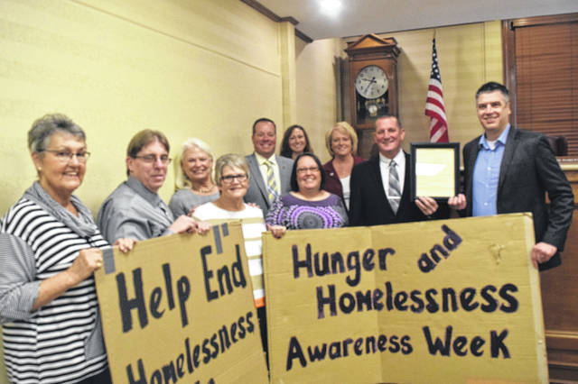 During their meeting on Monday, Oct. 29, Preble County Commissioners presented the HIT Foundation with a proclamation declaring Nov. 11-18 as Hunger and Homelessness Week in Preble County.