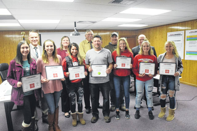During a board of education meeting held Thursday, Oct. 25, Preble Shawnee's varsity girls tennis team was recognized for winning the league championship. Not all members were presented and will be recognized individually during November's meeting.