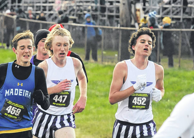 Eaton's Jack Bortel (447) and Alex Newport (452) helped the Eagles to a ninth place finish in the Division II state cross country meet on Saturday, Nov. 10. Newport earned second-team All-Ohio honors and Bortel was honorable mention.