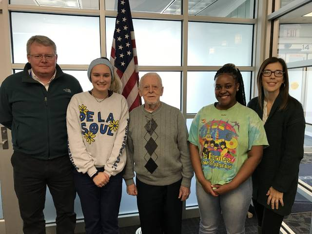 Three Miami Valley Career Technology Center (MVCTC) students were selected as finalist for the Voice of Democracy Essay contest by VFW Post 5018 in Dayton. Pictured left to right- Dave Sanford (MVCTC Social Studies Instructor), Kylie Kendrick (Pre-Nursing student from Tipp City), John Mays (VFW5018), Ahliya Brown (Business Ownership student from Northmont), and Cora Ullery (MVCTC Academics Department Secretary). Not pictured –Darius Benton.