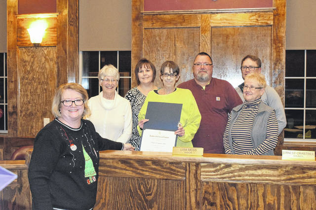 The Daughters of the American Revolution Commodore Preble Chapter presented the Village of Camden Council with an NSDAR Historic Preservation Recognition award on Thursday, Dec. 20. The award was in recognition of the village's work restoring the town hall.