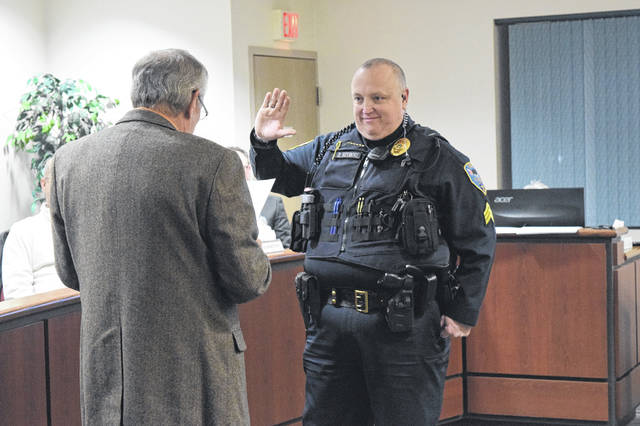 David Sizemore was promoted as a new Eaton Police Division Sergeant during the council meeting on Monday, Dec. 17.