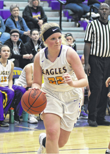 Eaton junior Ashley Earley scored 10 points and had six rebounds to help the Eagles to a 57-39 win over visiting National Trail on Saturday, Dec. 29. Eaton improved to 4-7 with the win, while Trail dropped to 6-5.