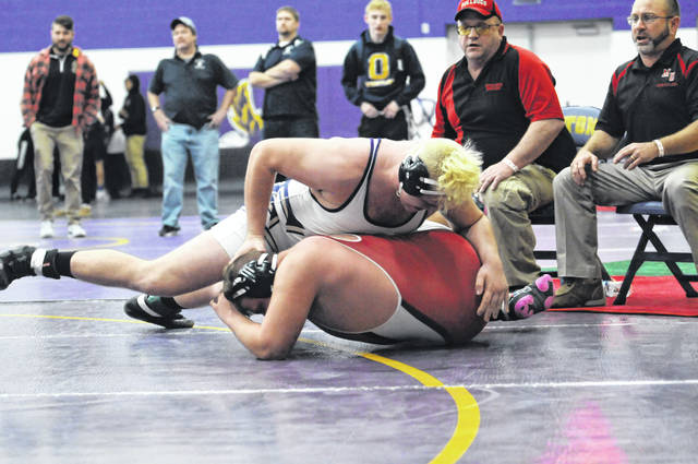 Eaton senior Seth Bowman scored a 3-1 sudden victory over Hunter Ross of Milton-Union in the third place match during the 49th Annual Eaton Sam Ridder Invitational on Saturday, Jan. 26. The Eagles placed sixth overall with 106 points.