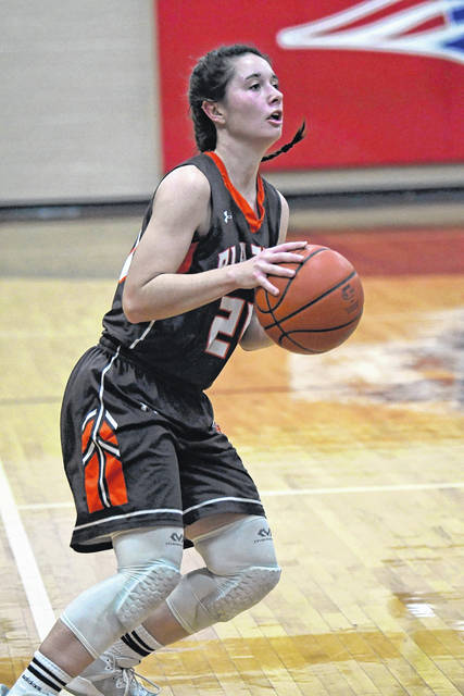 Makena Laird led National Trail with five points in the Blazers game at Tri-Village on Thursday, Jan. 17. Trail saw its record fall to 9-7 with a 54-13 loss.
