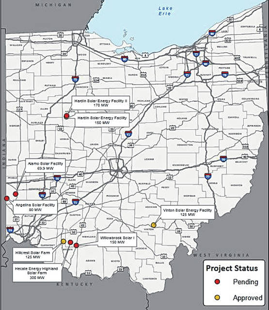 Pictured, the Ohio Power Siting Board's status map as of Dec. 20, 2018. Both sites proposed for Preble County are shown.