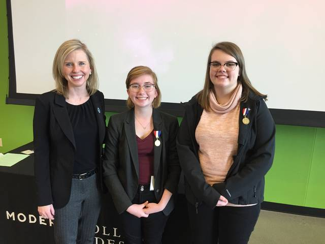 Pictured from left to right, Rivers McShirley (Tri County North,) who placed first (gold medal) and received a $2,500 scholarship to The Modern College of Design.) Chloe Thompson (Tipp City,) who placed third (bronze medal) and Jessica Barry, President of The Modern College of Desgin.