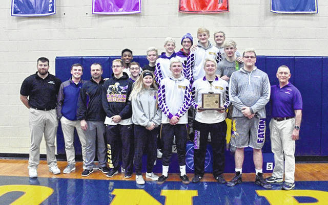 Eaton's wrestling team won five weight classes on its way to capturing an eighth Southwestern Buckeye League championship in the past nine years. Eaton totaled 182.5 points to rally for the win. The meet was held Friday and Saturday, Feb. 15-16 at Monroe High School.
