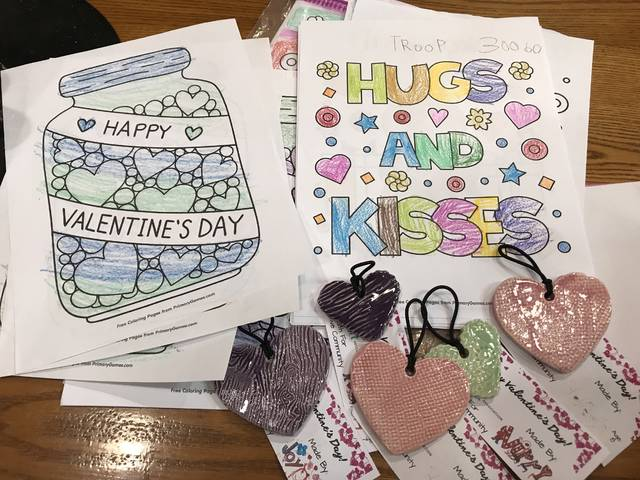 "Troop 30060 added to the love received from the community. They gave the Senior Center hand colored pictures wishing ""Happy Valentine's Day and Hugs and Kisses."" These pictures also brought so many smiles to many seniors."