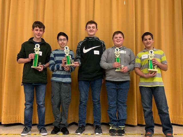 Pictured are the winners and runners-up of the 2019 Preble County Geography Bee, including (in no particular order) Jaxon Roth, Luke Menke, Caleb Goad, Rhett Emig and Kaiden Webb.