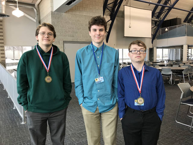 MVCTC Computer Coding and Web Applications Juniors included, left to right, Skyler Genter (Wayne), Alexander Newport (Eaton) and Kristopher Mounce (Miamisburg.)