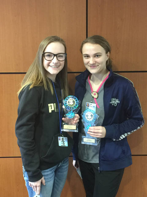 Pictured, MVCTC February Health and Consumer Science Students of the Month Sydney Flory (Cosmetology student from Twin Valley South) and Ann Frazier (Health Careers student from Valley View).