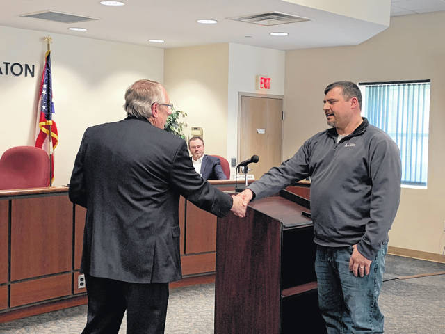 Daniel Gray was recognized as the City of Eaton's Employee of the Year during the city council meeting held Monday, March 18. Pictured, he is honored by Mayor Gary Wagner.