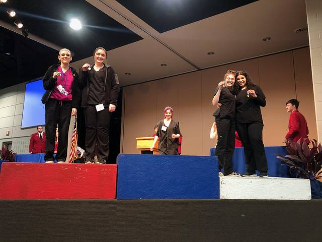 Kylee Moore (Cosmetology student from Eaton) placed 3rd and Katy Hood (Cosmetology student from Valley View) placed 2nd in the SkillsUSA Regional Esthetics Contest.