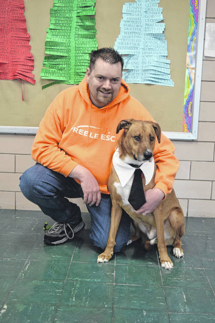 The Preble County Educational Center (ESC) Alternative School has a new Animal Assisted Therapy Program. In it, counselor Brent Krumdiack is shadowed by his dog Oakley on Mondays and Fridays to meet with students and staff alike. The program began in January.