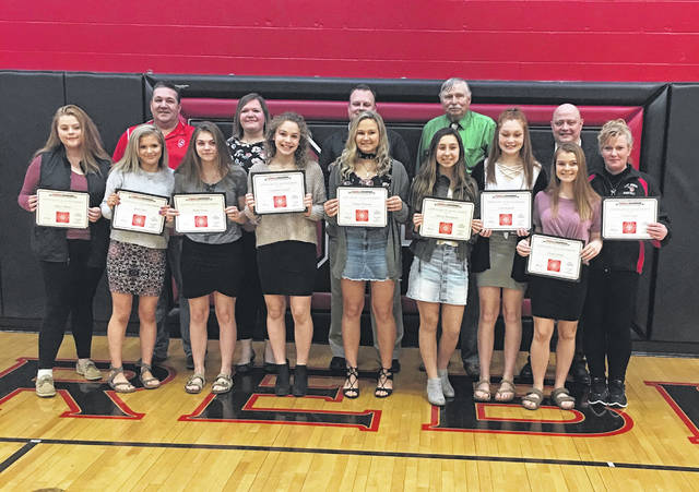 The Shawnee 8th grade girls basketball team was recognized for being SWBL Tournament champs during the Preble Shawnee Board of Education meeting on Thursday, March 14.