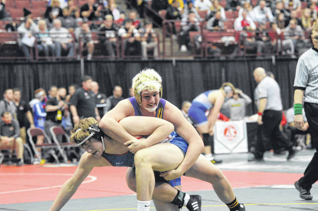 Eaton senior Skyler Straszheim (top) competed at the 82nd Annual OHSAA State Wrestling Tournament on Thursday, March 7.