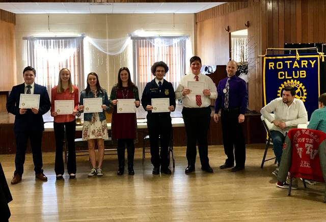 Pictured are all this year's participants in the Preble County Rotary Club's annual 4-Way Speech Contest. Arica Hamilton, a student from Eaton High School, came away with the win and moved on to district competition.