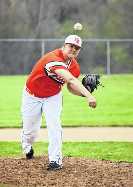 National Trail sophomore Cody Webb pitched the third perfect game in program history on Thursday, April 18 as the Blazers blanked Covington, 14-0. Webb stuck out three in the process.