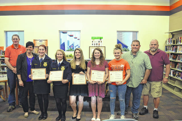 During its recent meeting on Tuesday, April 23, the National Trail Board of Education recognized the National Trail cheerleaders for placing eighth at the OASSA State Cheer Contest. Members include: Macel Stowers, Rachael Kimball, Kayleigh Minner, Cheyenne Gillett, Alison Kimball, Lillian Ryan, Peyton Foust, Hannah Lee, Rylee Minner, Katelyn Hines, Melanie Mackie, Caeley Conatser, Autumn Fudge, Makenzee Casteel, and Stella Richardson.