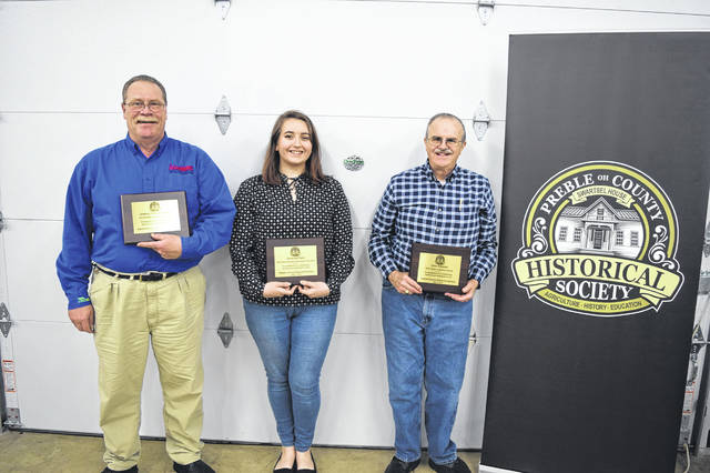 The Preble County Historical Society (PCHS) named its 2018 Annual Award Winners during the annual meeting on Sunday, April 7. Pictured are Kent Stonecash, Savannah Flack and Dave Edwards.