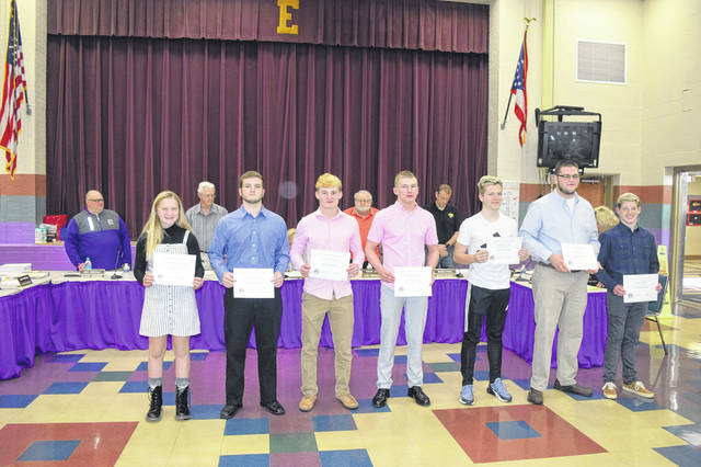 During a meeting on Monday, April 8, Eaton Community Schools Board of Education recognized the Eaton High School Wrestling Team as the 2019 SWBL Southwestern Division Champions. They further recognized Skyler Straszheim, Seth Bowman, and Zachary Schmidt for qualifying for the State Wrestling Meet and Wade Monebrake for his fifth place finish at the OHSAA Division II State Wrestling Championship.
