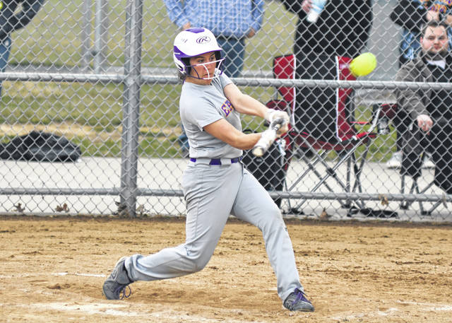 Eaton senior Emily Dungan hits a home run in the Eagles 6-4 loss to Brookville on Friday, April 5.