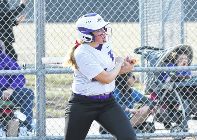 Eaton senior Alysa Sorrell watches as the ball she hit clears the left field fence for a walk-off home run for the Eagles against Franklin. Eaton improved to 3-0 overall and 1-0 in the Southwestern Buckeye League Southwestern Division with a 10-0, 6-inning win on Wednesday, March 27.