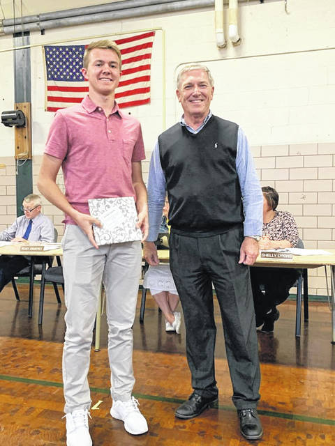 Preble County Educational Service Center (ESC) Board of Education recognized winners of the Franklin B. Walter Scholarship during a meeting on Wednesday, April 24. Pictured above is Nathan Osborn and ESC Superintendent Mike Gray.
