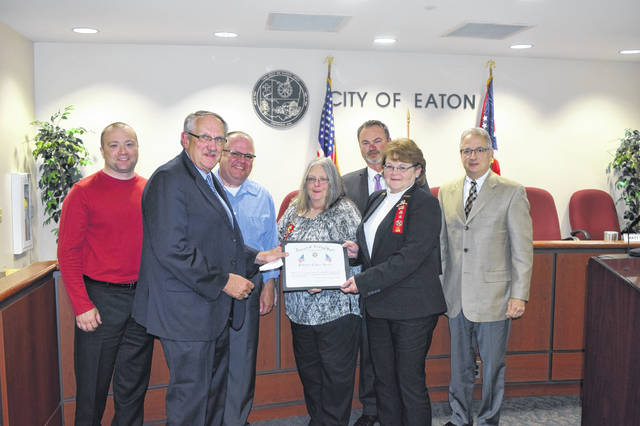 Eaton City Council was presented with a Patriotic Citizen Award from VFW Post 1577 Auxiliary in Camden for displaying the American Flag in the city. During a meeting on Monday, May 20, Linda Smith spoke on why the VFW finds it important to display the American Flag.