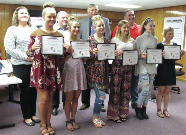 High school cheerleaders Elexia Vonderhaar, Maddie Powers, Rylee Jewell, Summer Hacker, Kylie Gadd, and Paige Brandner were recognized by the board and issued certificates of achievement.