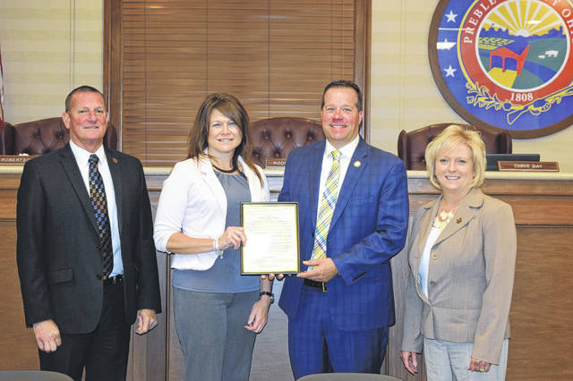Preble County Mental Health and Recovery Board was presented with a proclamation from the Preble County Board of Commissioners recognizing May as Mental Health Awareness Month during a meeting on Wednesday, May 8.