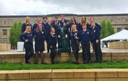 On Thursday, May 2, 16 members, including one of the 8th grade members, of the Preble Shawnee FFA departed from the Preble Shawnee High School to head to the 91st Annual Ohio State Convention held in Columbus.