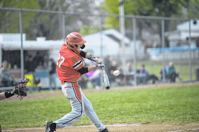 Tri-County North's Hunter Harry takes a swing during the Panthers game at National Trail on Tuesday, April 30. North dropped a 5-4 decision to the Blazers.