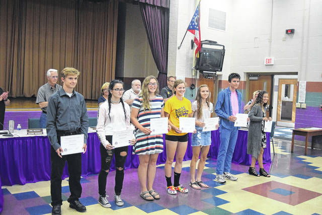 During its meeting on Monday, June 10, the Eaton Community Schools Board of Education recognized students for outstanding achievements. The board recognized all athletic teams and individuals for an outstanding season and recognized the following individuals and teams as qualifiers for the OHSAA regional meet: KeAnthony Bales, Brooke Caplinger, Todd Coates, Kendall Combs, Logan Cottle, Mallory Deaton, Maddie Haynes, Dylan Jackson, Kylee Kidwell, Alex McCarty, Alex Newport, Tyler Pittman, Garrett Sanders, Logan Sizemore, Dylan Suding, and Amyah Thacker.