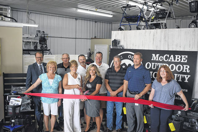 McCabe Outdoor Mobility held its grand opening with the Preble County Chamber of Commerce, county, city, and state officials on Friday, July 19. The store offers a variety of scooters, wheelchairs, life chairs, and all medical mobility needs.
