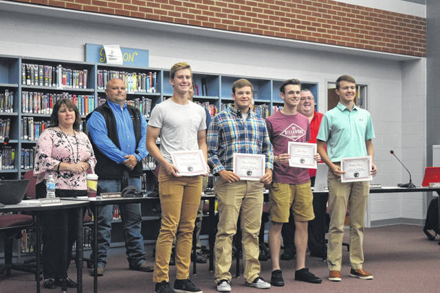 During the Twin Valley Community Local Schools Board of Education meeting on Monday, June 24, students were recognized for outstanding achievements. The following class valedictorians were honored: William Bowman, Jake Byrne, Chase Denlinger, and Nathan Osborn.