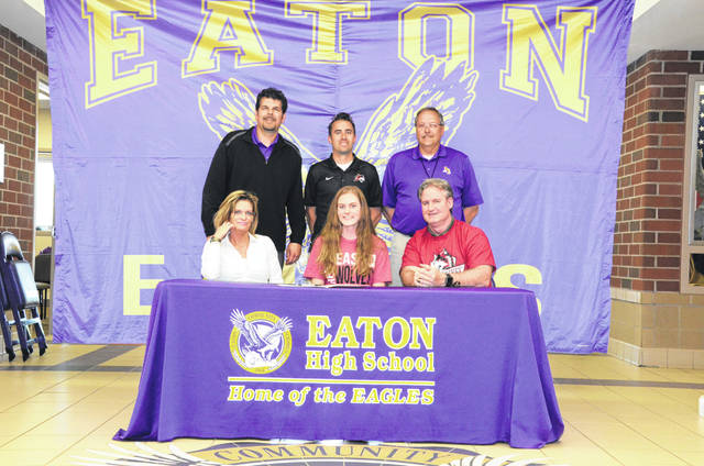 "Claire Meyer, a recent graduate of Eaton High School, has signed a letter of intent to compete in cross country and track and field at Indiana University East starting with the 2019-20 school year. Meyer is an all-conference and all-district honoree who was Eaton's ""Miss Cross Country"" award recipient in 2018. She served as Eaton's team captain and was the program's sportsmanship award winner. She is Eaton's school record holder in the 1500 meter steeplechase. She reports personal bests of 20:47 in a 5K cross country race, 6:29 in the 1500 meter steeplechase, 13:01 in the 3200 meter run, 6:01 in the 1600 meter run and 2:39 in the 800 meter run. She plans to major in biology. IU East, located in Richmond, Indiana, is a NAIA program which competes in the River States Conference."