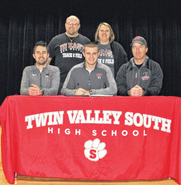 Brandan Wright, from Twin Valley South High School, has signed a letter of intent to compete in cross country and track and field at Indiana University East starting with the 2019-20 school year. Wright was part of Twin Valley South's 4x400 meter relay team that qualified for the Ohio state meet in 2018. He has been a contributor on Twin Valley South track and field teams that have won three consecutive conference championships. He also is an academic all-conference honoree. He lists athletic training/therapy as a possible area of study. IU East is an NAIA program located in Richmond, Indiana, and competes in the Rivers States Conference.