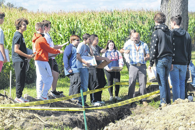 During class on Thursday, Sept. 5, National Trail's AFNR (Agriculture, Food, and Natural Resources) students had the opportunity to apply their soil science knowledge to an actual soil pit.